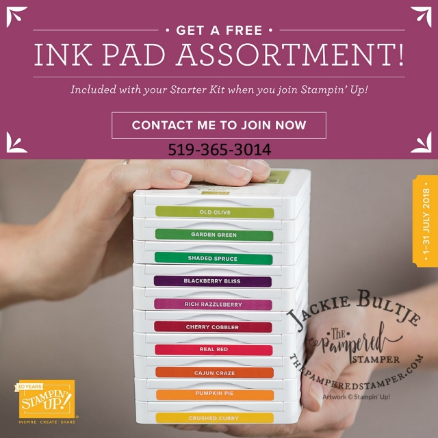 Get a free colour family of ink pads if you get the starter kit in July 2018.