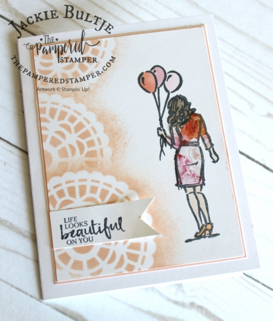 Paper piecing for the dress from Wonderful Moments using Petal Promenade paper.