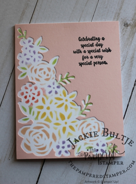 Using the negative of the cut out from Springtime Impressions framelits to give the card a totally different look.