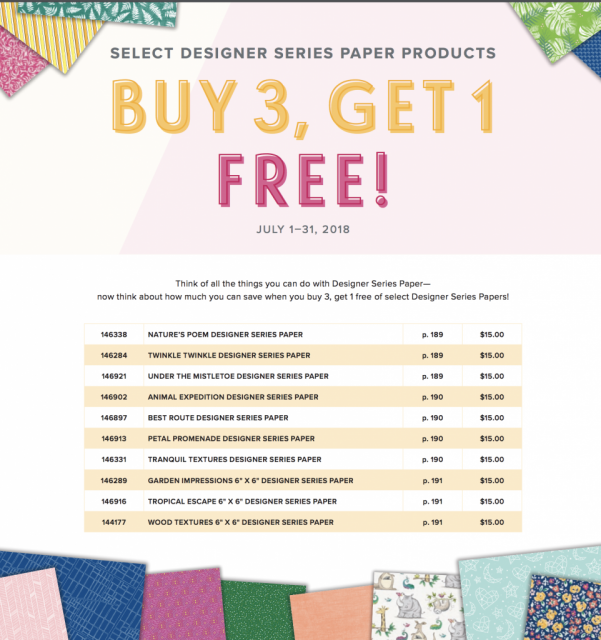 Buy three get one free designer paper series sale with Stampin'Up!