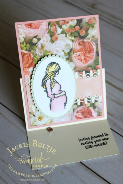Easel card using Wonderful Moments and Petal Promenade.