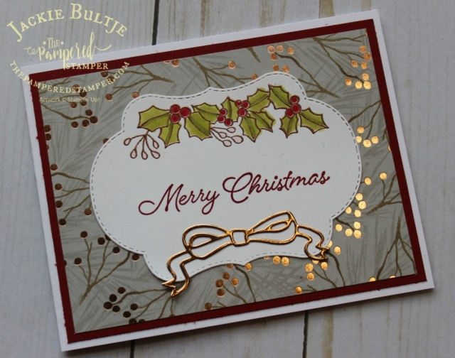 Joyous Christmas paper with Blended Seasons for a copper themed Christmas card