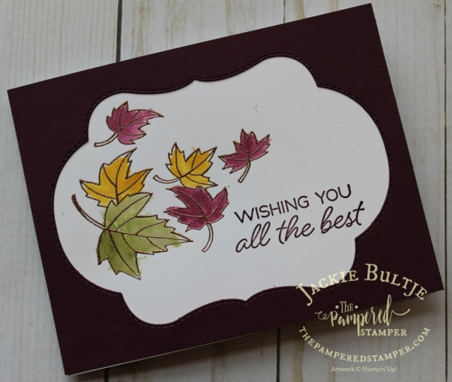 Copper embossed leaves and a faux window card using Blended Seasons.