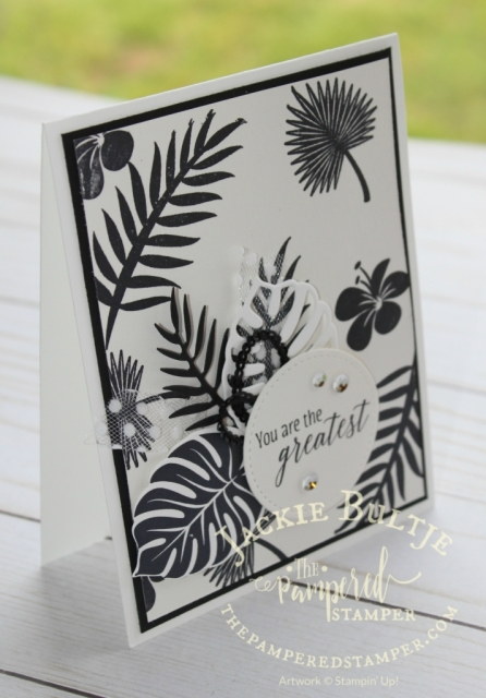 MOnochromatic Tropical Escape card on shimmer white cardstock.