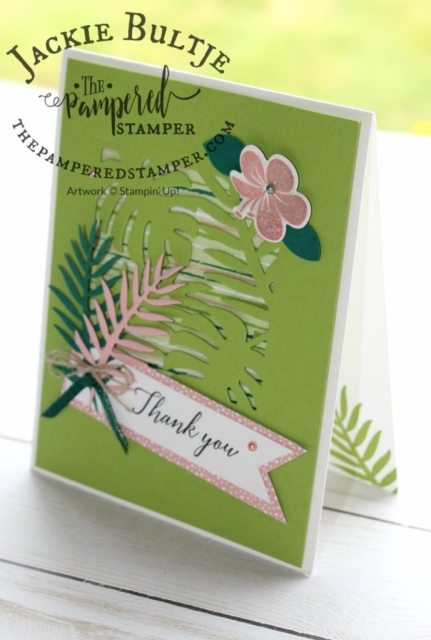 Fresh and beautiful card using granny apple green, blushing bride and shaded spruce.