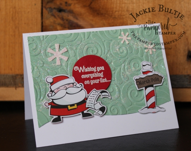 Super cute embossed Signs of Santa card cased from Tami White.
