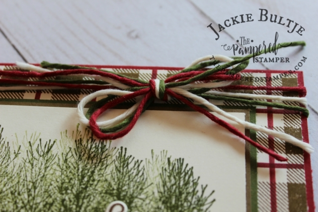 Festive Farmhouse Twine is the perfect accent to this mad about plaid card using the Buffalo Check background stamp.