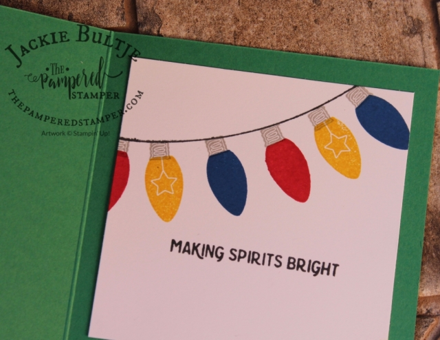 The punch in the All is Bright suite makes it super easy to make the Christmas lights but stamping them is even easier and makes for a quick and cute inside of the card.