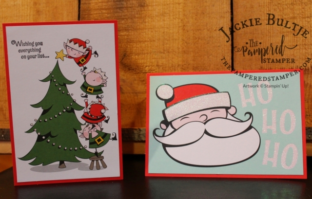 Super simple but cute cards using the Santa's Workshop Memories and More cards