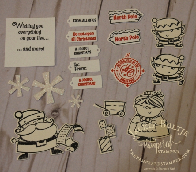 Stamped images from Santa's Workshop...they all have coordinating framelits except for the largest sentiment