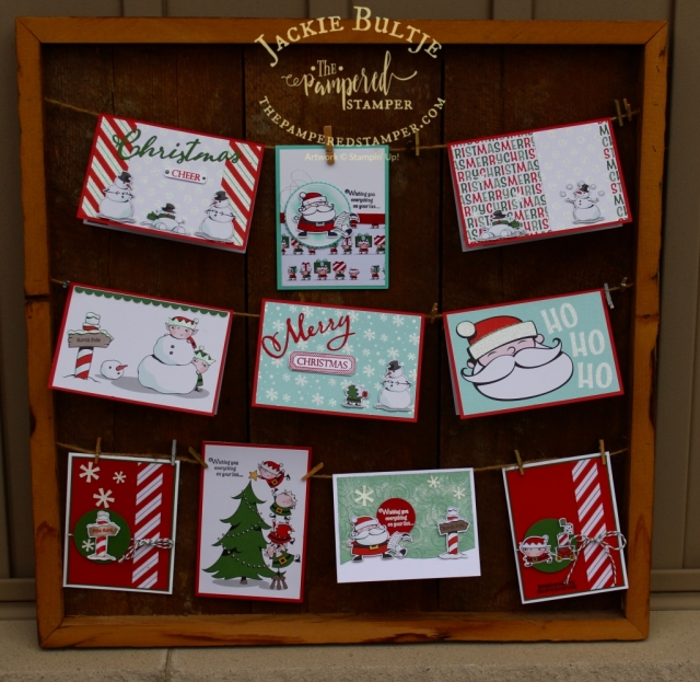 My entire collection of cards made with Signs of Santa. So fun, so easy.