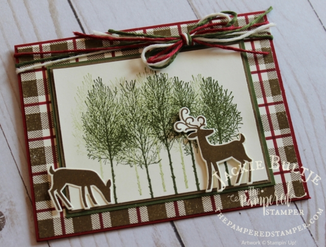 More mad about plaid cards using the Buffalo Check background stamp and Winter Woods and Dashing Deer.