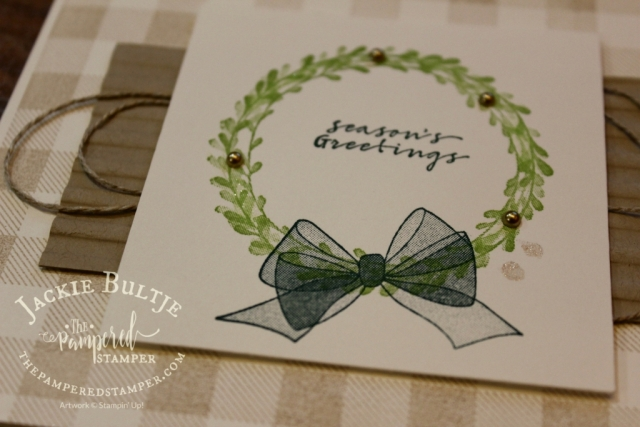 "DistINKtive stamp ""Wishing You Well"" combines with Buffalo Check background stamp for a soft and lovely Christmas card."