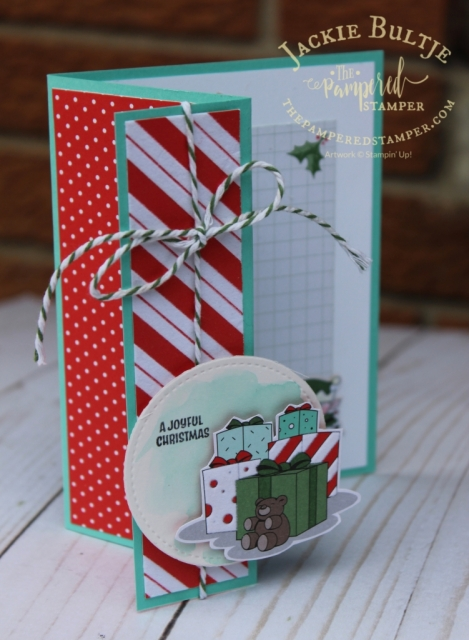 Fancy fold card using the lovely Santa's Workshop designer series paper.