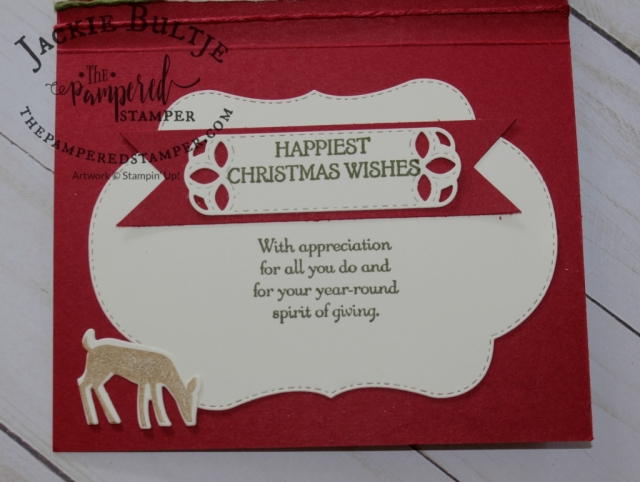 Stitched Labels Framelits, Dashing Deer and Blended Seasons for the inside of this Christmas card.