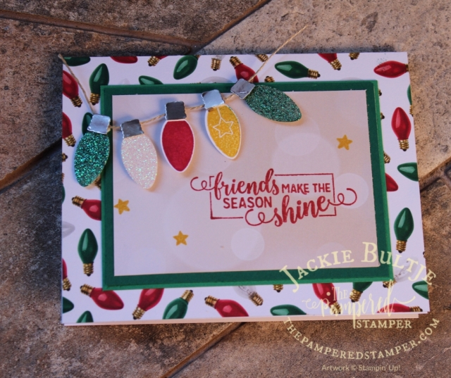 Shimmer paper combines with the Christmas Bulb builder punch for easy All is Bright cards