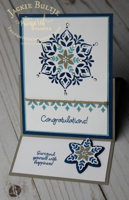 Braided linen trim is a great compliment to this Happiness Surrounds card in the Snowflake Showcase suite