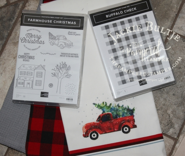 Here you can see the two stamp sets that are so on trend right now. Buffalo Check and Farmhouse Christmas.