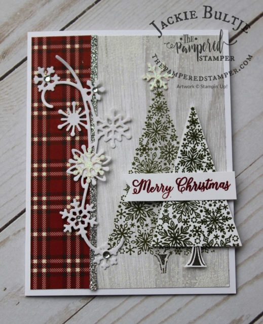 Snowflake Showcase meets Farmhouse Christmas in this rustic card