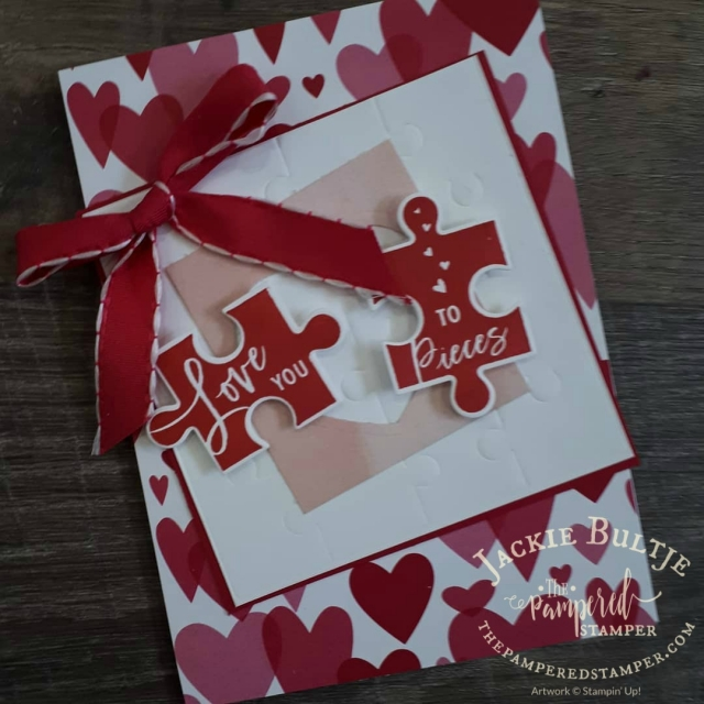 All my Love designer series paper is the star of this show along with the Puzzle framelits from Love You to Pieces.