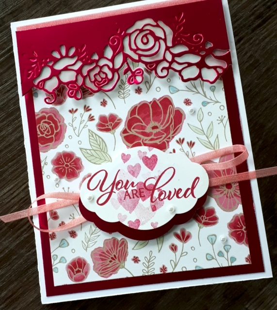 Lovely Lipstick foil as a card topper backed with vellum.