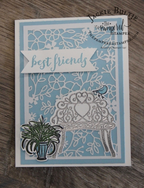 Delicately Detailed Laser Cut paper is the base for this lovely card using the Sitting Pretty Bundle.