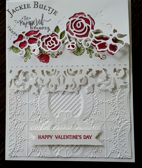 Lace dynamic textured embossing folder and the Delicate Lace edgelits combine well with the Forever Lovely bundle.