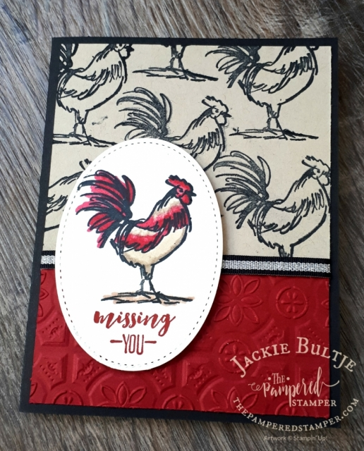 The rooster works great as a background stamp as well, this time with black ink on crumb cake cardstock.