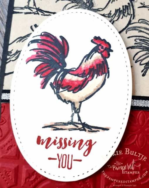 Blends are perfect for colouring the rooster from Home to Roost a free sale-a-bration stamp set with a $60 purchase.