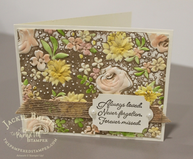 Country Floral embossing folder inked up in crumb cake combines with Flowing Fountain sentiment