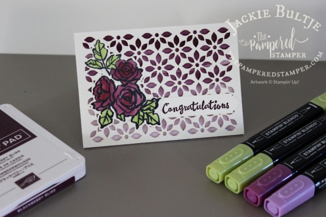 Blackberry Bliss and Granny Apple Green Blends with Delightfully Detailed Laser Cut Paper and Petal Palette stamp set.