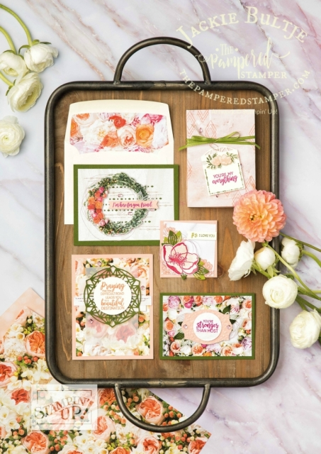Gorgeous samples from Petal Promenade suite in the annual catalog