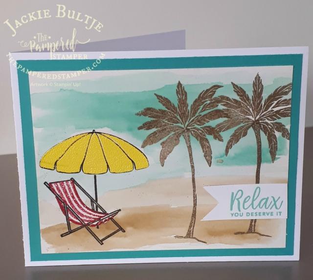 Beach Happy emboss resist card on shimmer white cardstock.