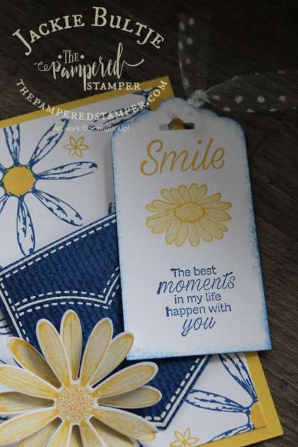 Daisy Lane tag in daffodil delight and blueberry bushel