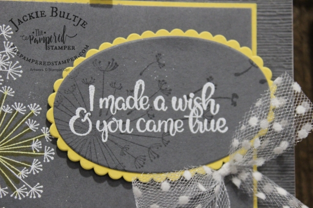 Daffodil Delight and Dandelion Wishes with polka dot tulle ribbon: a delightful combination.