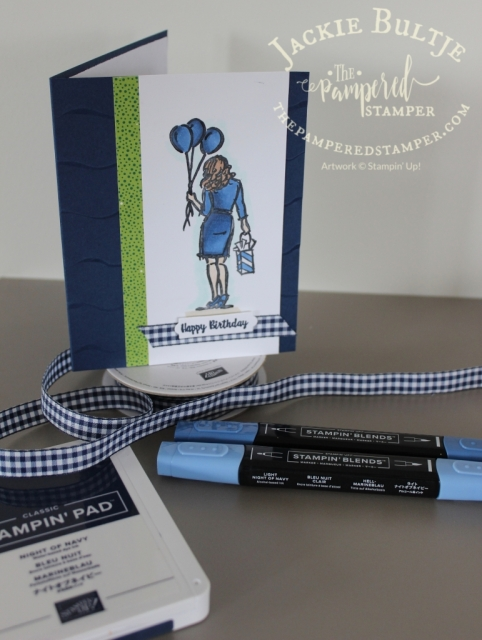 Night of Navy Monochromatic card using Wonderful Moments and Tropical Chic designer series paper