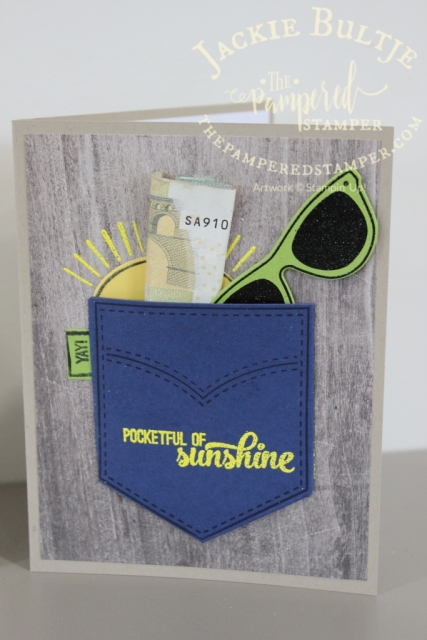 Pineapple punch embossing powder with pocketful of sunshine.