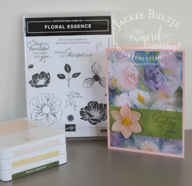 Simple stamping with Perennial Essence paper and stamp set.