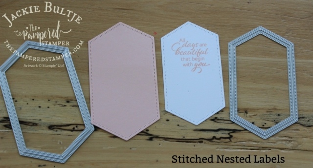 Stitched Nested Labels form the focal point joining the double points on the card.