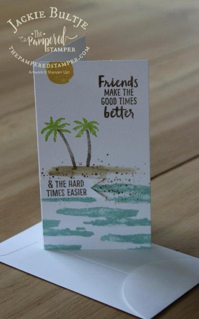 Watercolouring with Waterfront on this narrow note card. Inspired by the artisan blog hop.