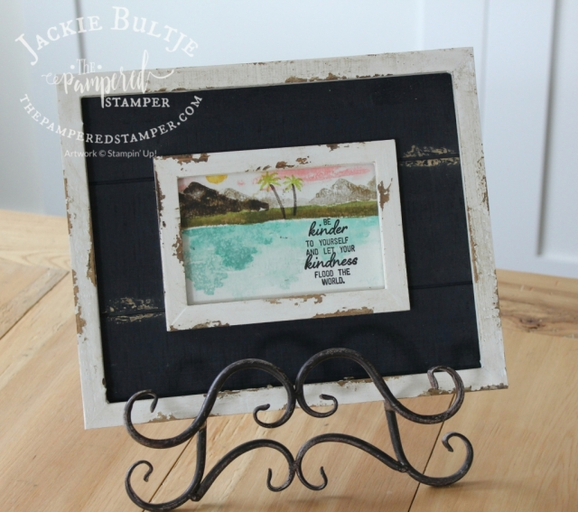 Framed art using watercolouring with Waterfront.