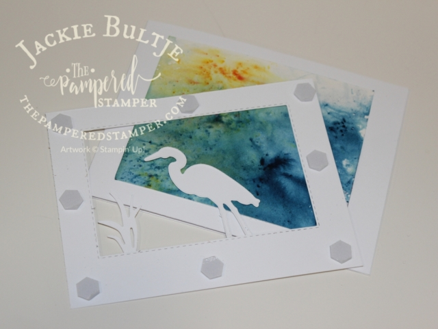 Brusho background on a clean and simple Lilypad Lake card