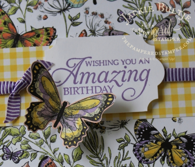 Beautiful butterfly paper from Stampin'Up coordinates with our butterfly punch.