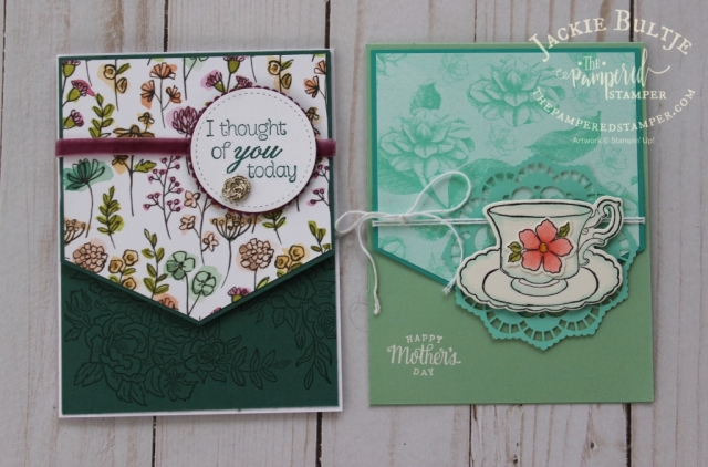 Note the different positions of the focal point in these two cards with the same design sketch.