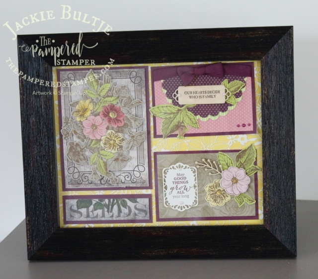 Good Things Grow sampler with delightfully detailed laser cut paper background