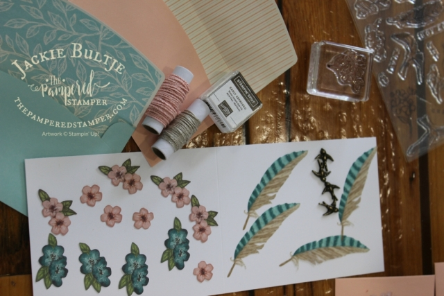 Here you can see all the pretty embellishments that came with the Hugs from Shelli Paper Pumpkin kit