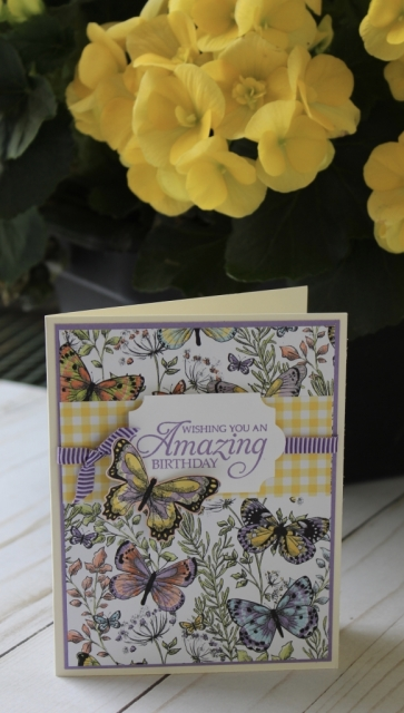 Butterfly punch and label punch make this simple card even easier to make. It is also great to have coordinating products from Stampin'Up that take the guesswork out of designing.