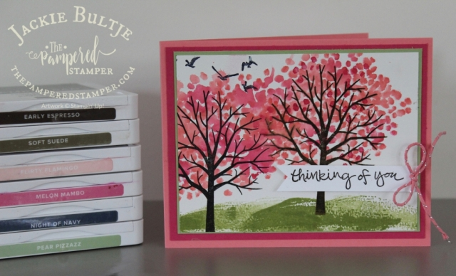 An embellishment opportunity on this Sheltering Tree card.