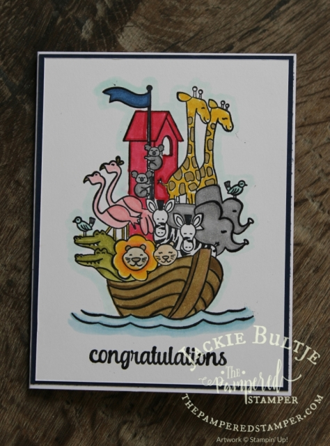 Two by Two is a classic stamp set for baby cards and is perfect for colouring with beautiful Blends.