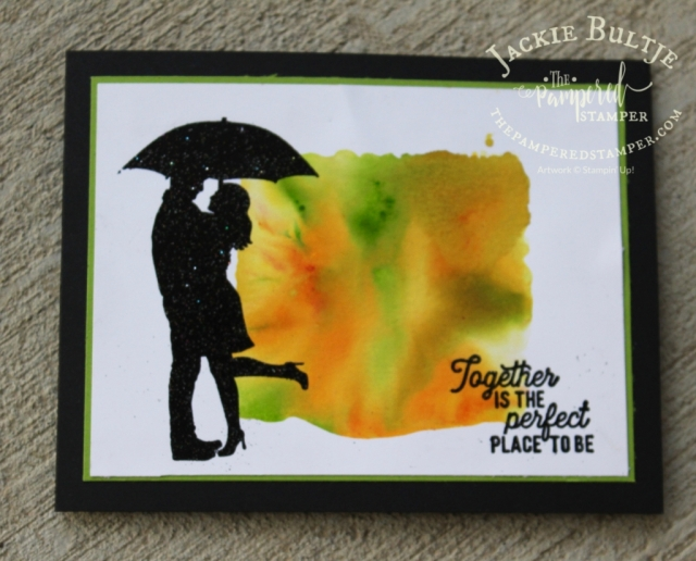 """You can mix two colours of pigment sprinkles on a D block before spritzing with water and """"stamping"""" on the card."""